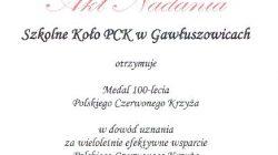 Medal 100-lecia PCK dla Szkolnego Koła PCK